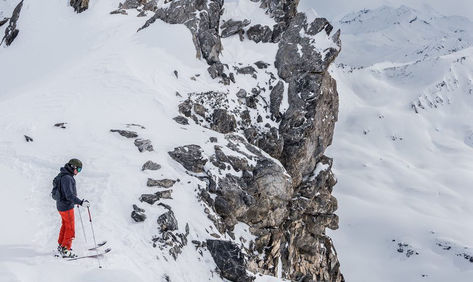 Skier on top of a mountain